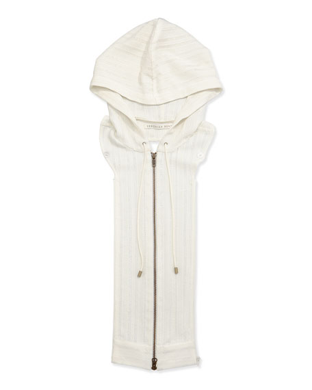 Veronica Beard Zip-Front Hoodie Dickey, White