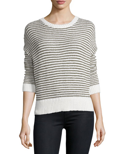 J Brand Jeans Alexandria Striped Long-Sleeve Sweater, White