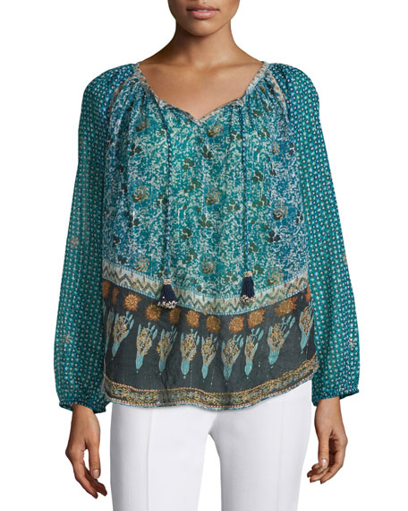 Calypso St Barth Keaton Long-Sleeve Mixed-Print Top, Blue