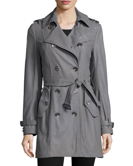 Julia Double-Breasted Leather Trenchcoat, Gray