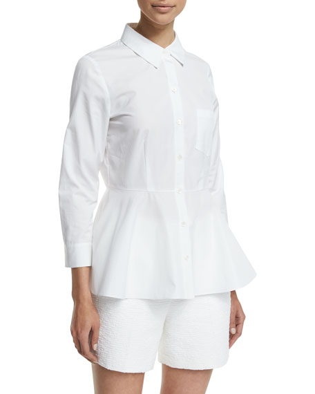 Eyodis Pearce Button-Down Peplum Top, White