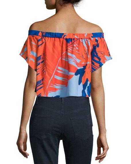 Palm Print Off-Shoulder Crepe Crop Top
