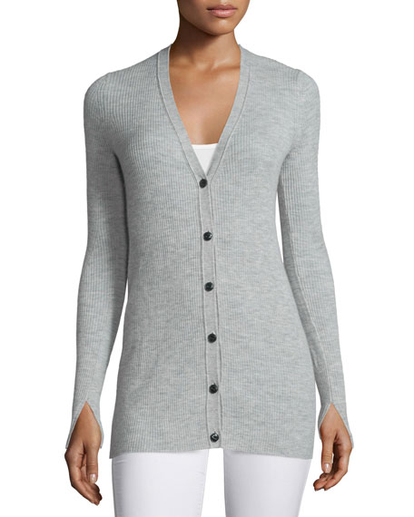 Rag & Bone Alexandra Ribbed Cashmere Cardigan, Light Gray
