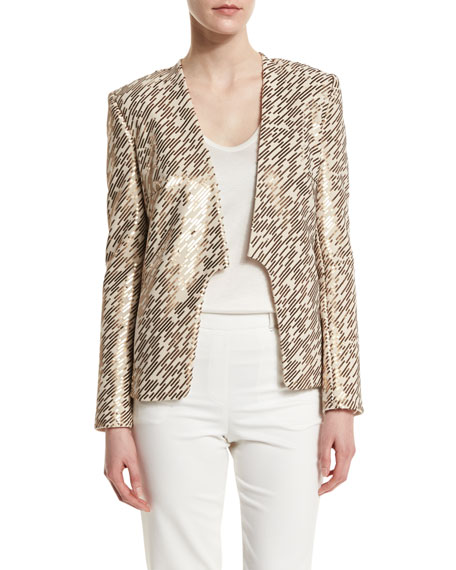 Halston Heritage Long-Sleeve Allover Embellished Jacket, Oyster/Gold