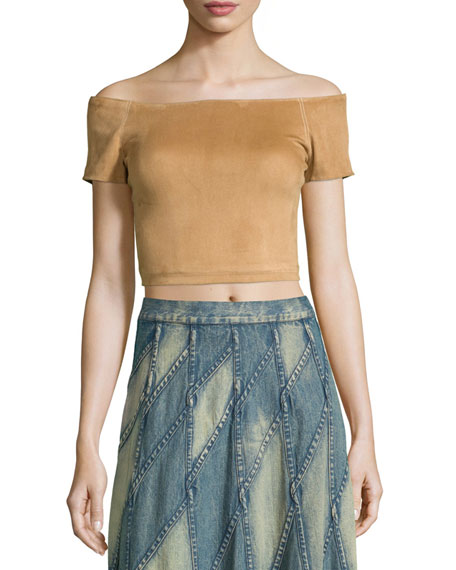 Alice + Olivia Gracelyn Suede Off-the-Shoulder Cropped Top,