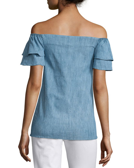 Loryn Off-the-Shoulder Chambray Blouse, Blue
