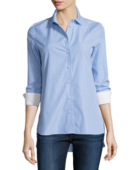 Carven Rayures Long-Sleeve Striped Poplin Top, Blue/White