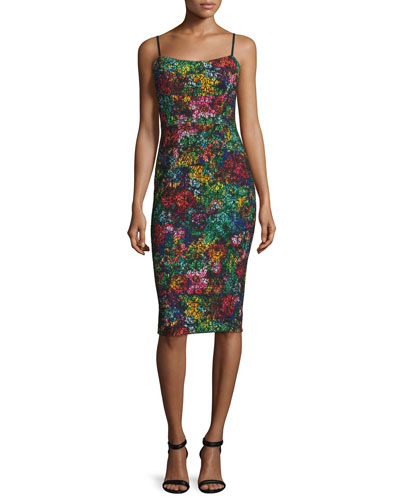 Spaghetti Strap Printed Sheath Dress
