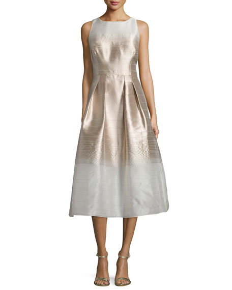 Kay Unger New YorkSleeveless Ombre Fit-&-Flare Dress, Champagne