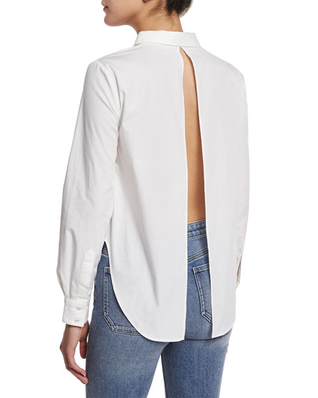 Long-Sleeve Flyaway-Back Blouse, White