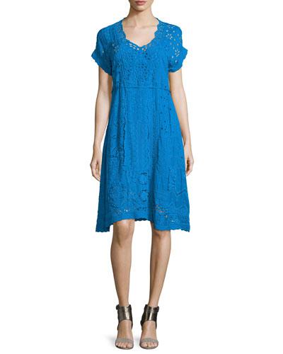 Short-Sleeve Midi Eyelet Dress, Women's