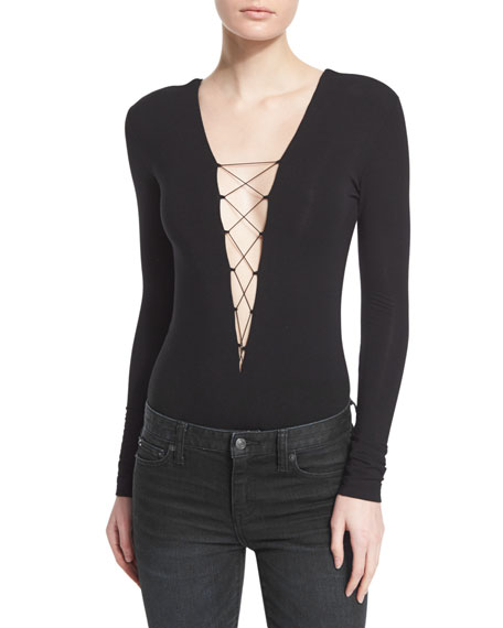 T by Alexander WangLace-up Stretch Jersey Bodysuit, Black