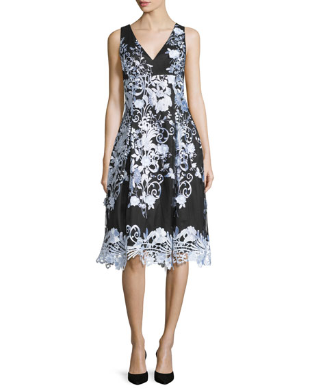 Aidan MattoxSleeveless Floral A-line Cocktail Dress