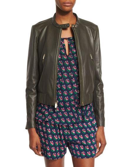 Diane von Furstenberg Buckley Cropped Leather Jacket, Deep Lichen