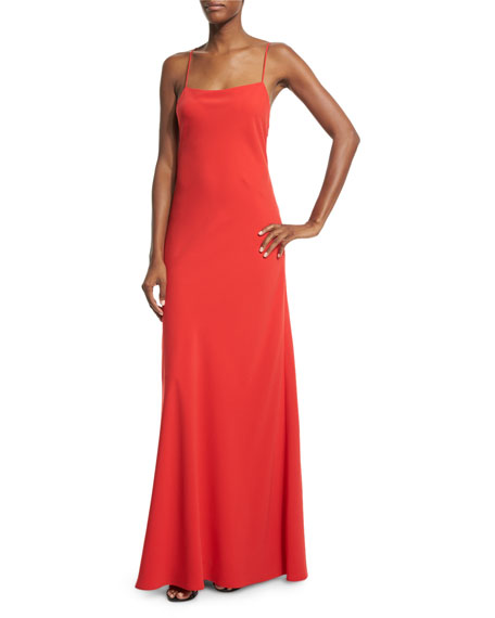 Jill Jill Stuart Sleeveless Ruffle-Back Column Gown, Poppy