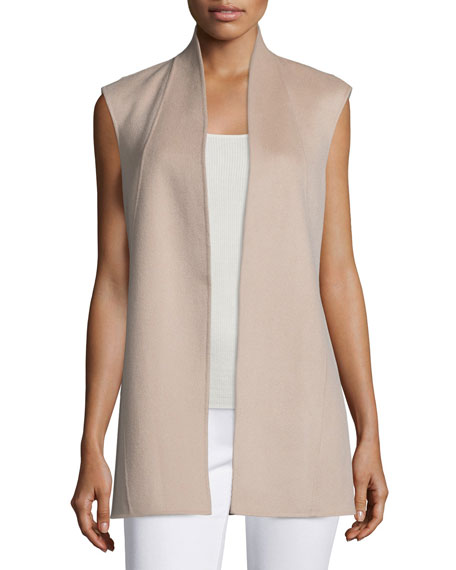 Neiman Marcus Cashmere Collection Double-Face Woven Cashmere Vest