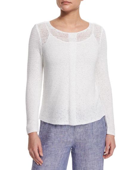 NIC+ZOE Long-Sleeve Sheer Illusion Sweater Top, Petite