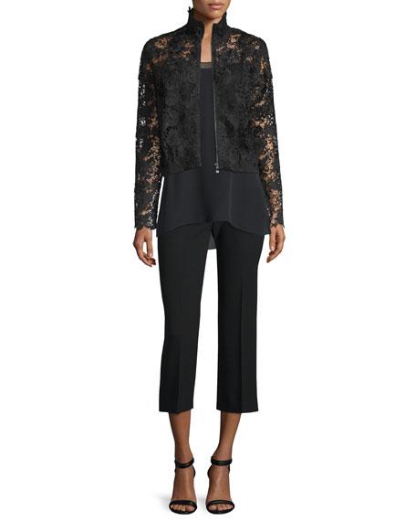 Alba Slim-Leg Cropped Pants, Black
