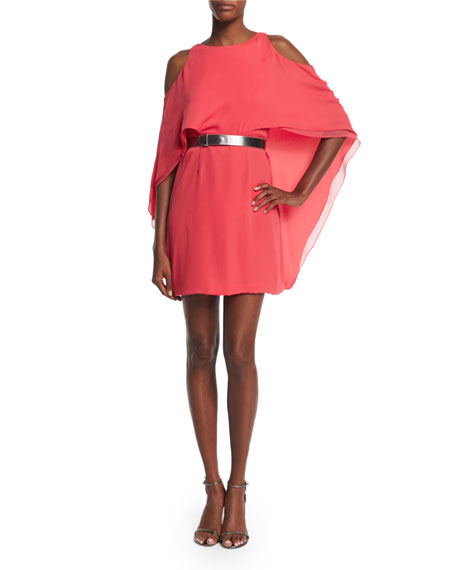 Halston HeritageCold-Shoulder Belted Flowy Dress, Coral