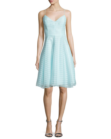 Halston Heritage Sleeveless Textured-Stripe Dress, Foam