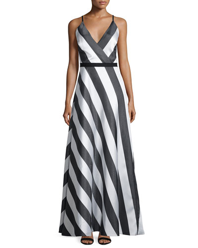 Sleeveless A-line Striped Dress, Black/Multi
