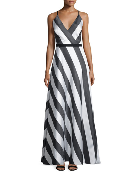 Phoebe Couture Sleeveless A-line Striped Dress, Black/Multi