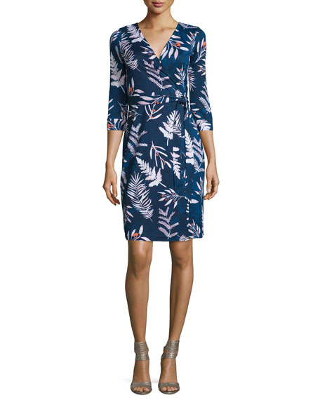 Diane von Furstenberg Long-Sleeve Floral-Print Wrap Dress, Leaves