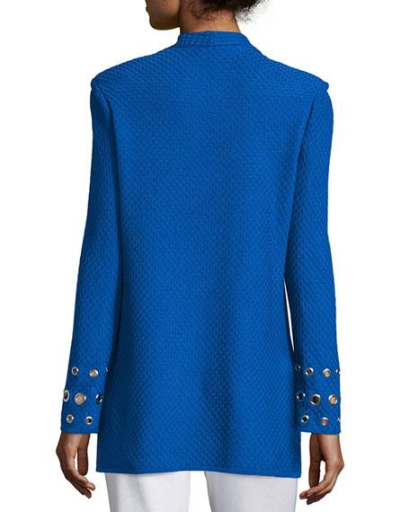 Misook Plus Size Long Knit Jacket with Grommet Detail