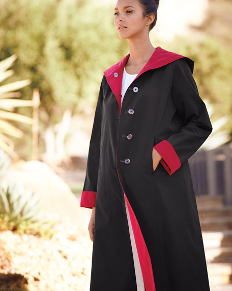 Hooded Button-Front Reversible Coat