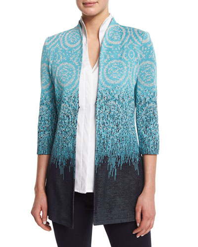 Plus Size Ombre 3/4-Sleeve Jacket