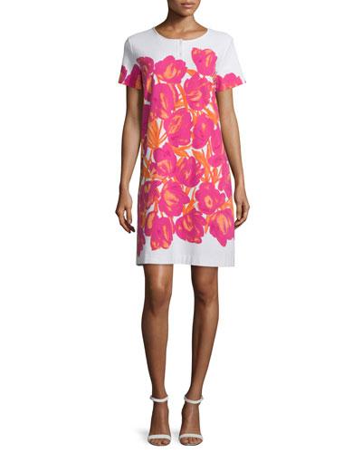 Short-Sleeve Floral-Print Pique Dress, Women's
