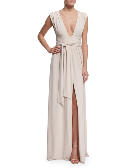 Halston Heritage Sleeveless Plunging V-Neck Gown, Oyster