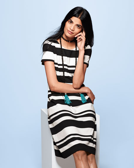 Short-Sleeve T-Shirt Striped Dress, Black/Multi