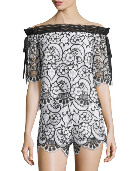 Alexis Imena Floral Lace Top, Black/White