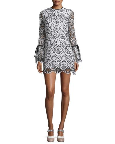 Rustam Lace Mini Dress, Black/White