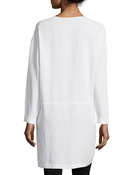 Long-Sleeve High-Low Silk Tunic