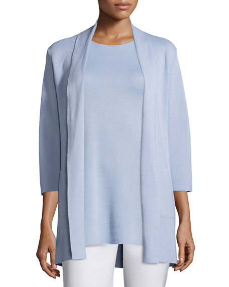 Eileen Fisher 3/4-Sleeve Silk-Cotton Interlock Cardigan, Delfina,
