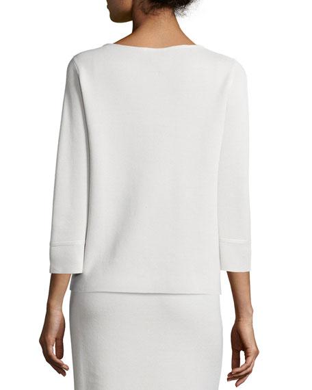 3/4-Sleeve Silk/Cotton Interlock Box Top, Petite