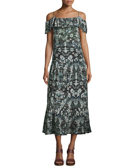 Iro Yonelia Floral Ruffle-Trim Midi Dress, Multicolor
