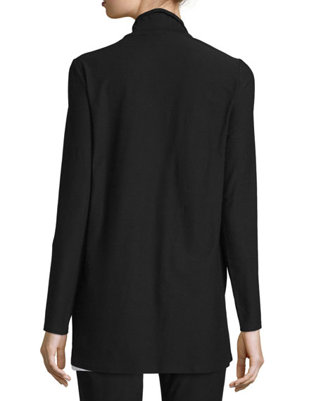 Washable Stretch Crepe Long Jacket, Plus Size
