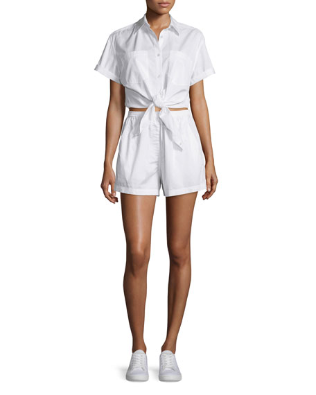 T By Alexander Wang Woman Tie-front Striped Cotton-poplin Shirt Blue Size 4 Alexander Wang Eastbay For Sale Cheapest For Sale 5CTZzTAKt