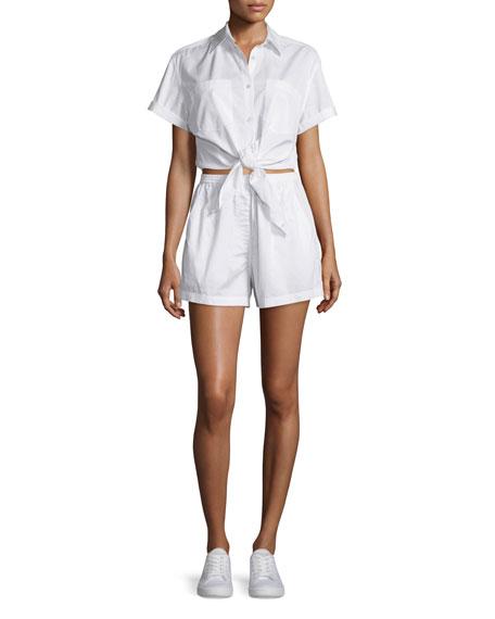T by Alexander Wang Poplin Tie-Front Shirtwaist Romper,