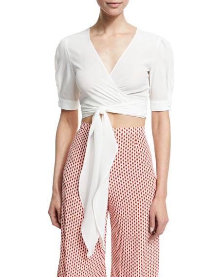 Alexis Noly Cropped Silk-Blend Wrap Top, White