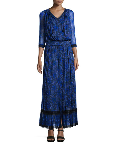 Elie TahariAmber 3/4-Sleeve Floral-Print Maxi Dress, Seabed