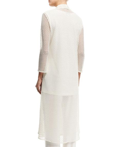 Drama 3/4-Sleeve Crochet Duster Coat