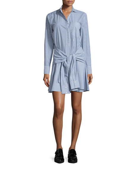 Derek Lam 10 Crosby Long-Sleeve Striped Cotton Tie-Waist Shirtdress, ...
