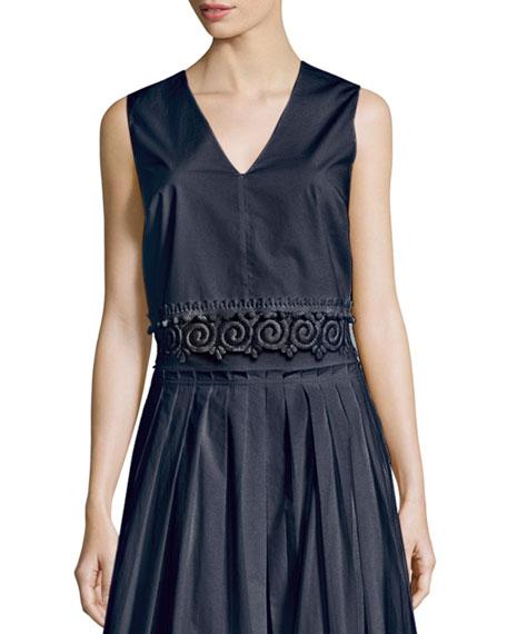 Derek Lam 10 Crosby Sleeveless Lace-Trim Cotton Shell,