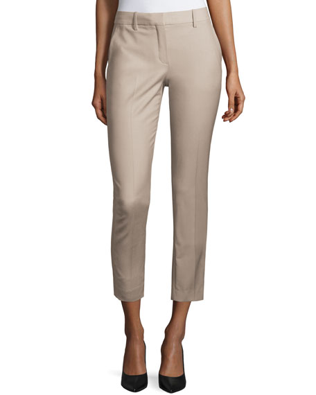 Theory Treeca Cl. Continuous Cropped Pants, Gray Khaki