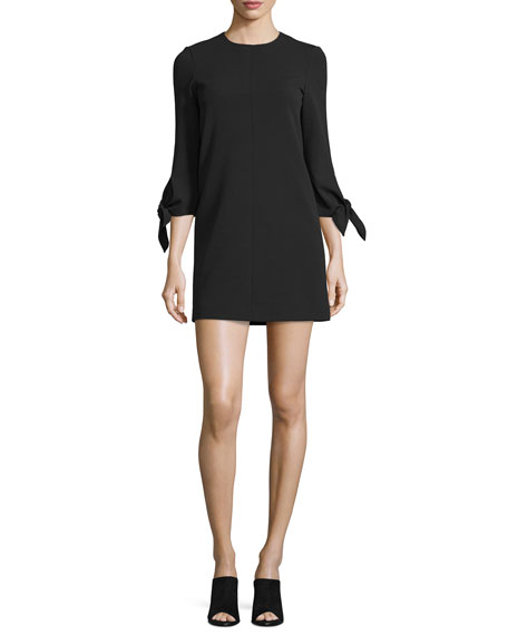 Tie-Sleeve Structured Crepe Shift Dress, Black