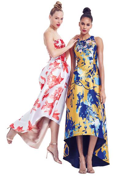 Floral-Print Sleeveless Midi Dress W/ High-Low Hem, Coral
